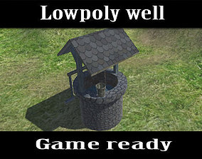 3D asset game-ready Lowpoly stone well