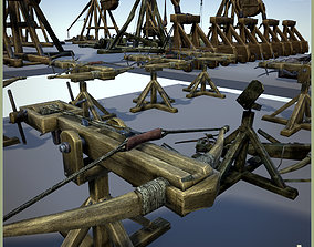 Animated Siege Weapons 3D asset low-poly