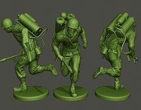 3D printable model American soldier ww2 run A6