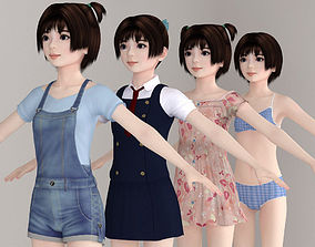 T pose nonrigged model of Eri with various