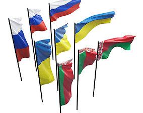Flags of Russia Ukraine Belarus 3D