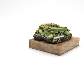 Avocado smashed on toast 3D