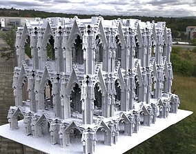 3D model Victorian architecture Cathedral archway fantasy