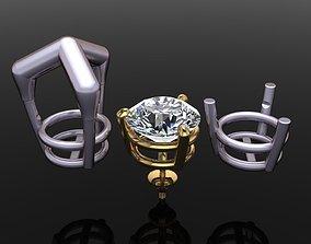 3 Prong Solitaire Earring Stud Basket 10mm 3D print model