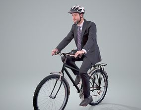 3D Business Man on a Bicycle with Helmet