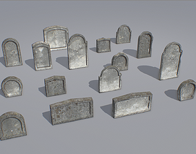 Gravestones pack 5 3D model low-poly