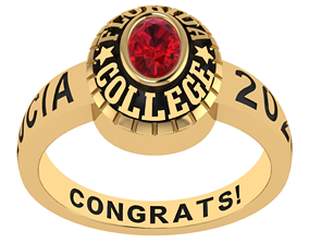 Personalized Class Ring 9 - Oval Gem 3D printable model 1