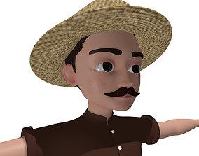 mustache Fisherman Cartoon Character 3D