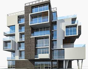 Modern Apartment Building 01 3D model