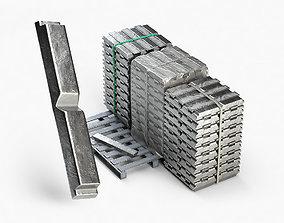 Aluminium Zinc Nickel Silver Titan Steel ingot 6 3D model
