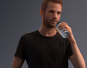 3D Man dressed casual walking while drinking coffee