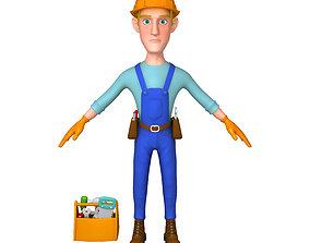 3D Worker Cartoon 02