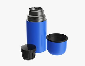 3D model Thermos stainless steel with cup small opened