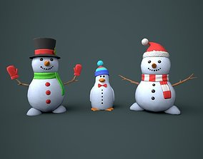 3D asset Snowmen Stylized
