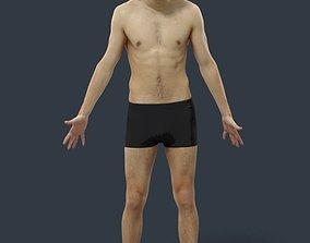 3D model Animated Beach Man Swimwear - A-pose - Pat