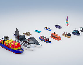 15 low poly Boats and ships pack 3D asset