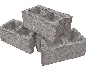 3D model low-poly Cinder Block - PBR Game-Ready