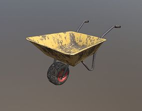 3D asset Low Poly Wheel Barrow Yellow Dirty