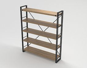 Industrial Wooden Metal Frame Shelf 3D
