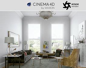 Octane - C4D Scene files - Living Room Interior 3D