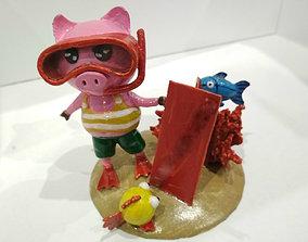 Piggy diver 3D printable model