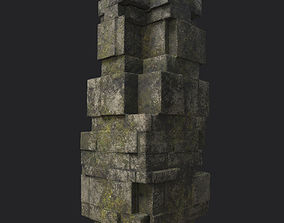 3D model VR / AR ready Low poly Ruin Temple Block 04