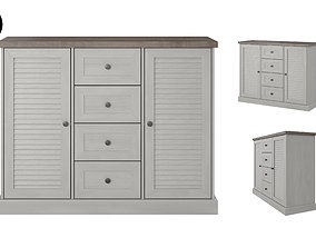 Commode 3D model in colonial style oak white realtime