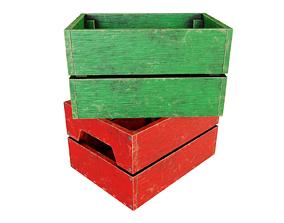Wooden box 3D model wooden