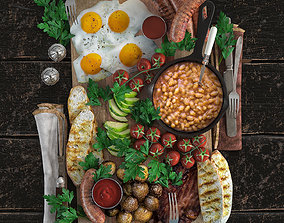 3D asset Full English Breakfast platter