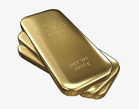 Gold bars 03 3D
