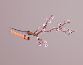 3D asset low-poly Katana Sakura