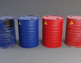 3D asset low-poly Oil Barrel