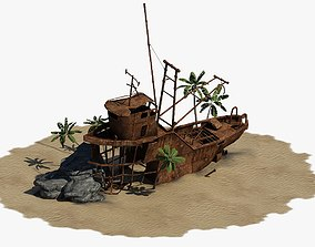 3D model Shipwrecked Boat