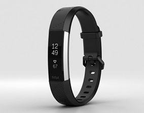 Fitbit Alta HR Black Stainless Steel 3D
