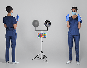 3D model Young nurse in a sterile surgical mask and gloves