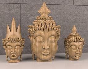Decorative Wooden Buddha heads 3D model