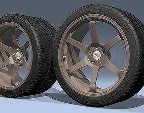 3D model Volk T037 Alloy wheels with PZERO tires