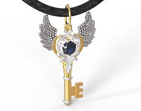 Angel key pendant with gem 5mm 3D printable model