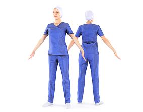 Surgical nurse A-pose 44 3D model