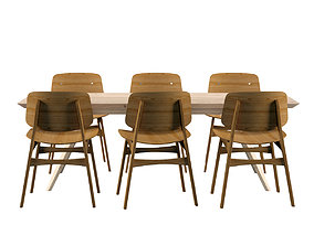 3D model Table Set - Fredericia Wooden Table