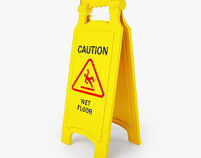 Caution Wet Floor Safety Sign 3D Model