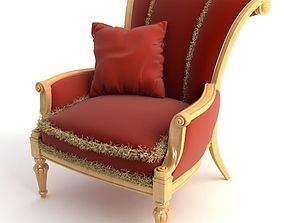 Red Armchair with Pillow 3D