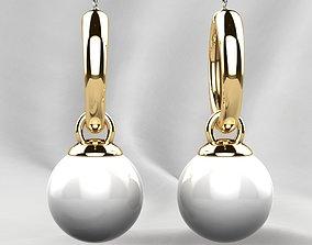 Pearls Fashion Gold Earrings 3D print model