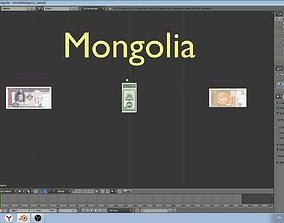 3D asset Paper - money models of Mongolia