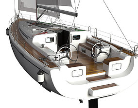 Detailed Sailing Yacht hquality 3D model