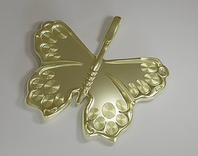 Golden Butterfly Pedant CGI and Print 3D printable model