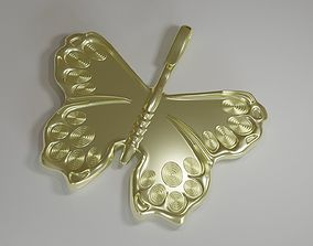 3D printable model Golden Butterfly Pedant CGI and Print