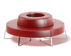 Red Leather Waiting Sofa 3D model