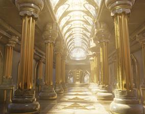 3D medieval temple interior scene archiviz