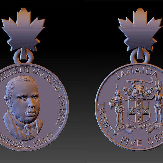 Jamaica America Garveyite National hero gold pendant 3D print model